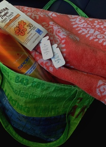 recycled rice sack and sunscreen.. ready!..